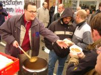 local radio co set up soup kitchen at picket