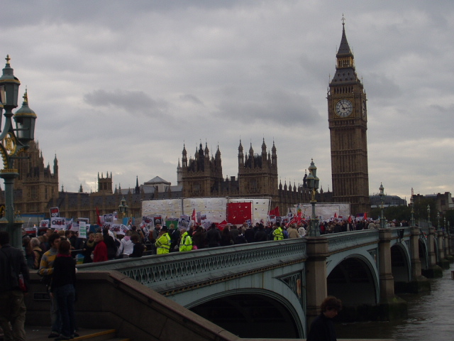 March going over Westminster Bridge.