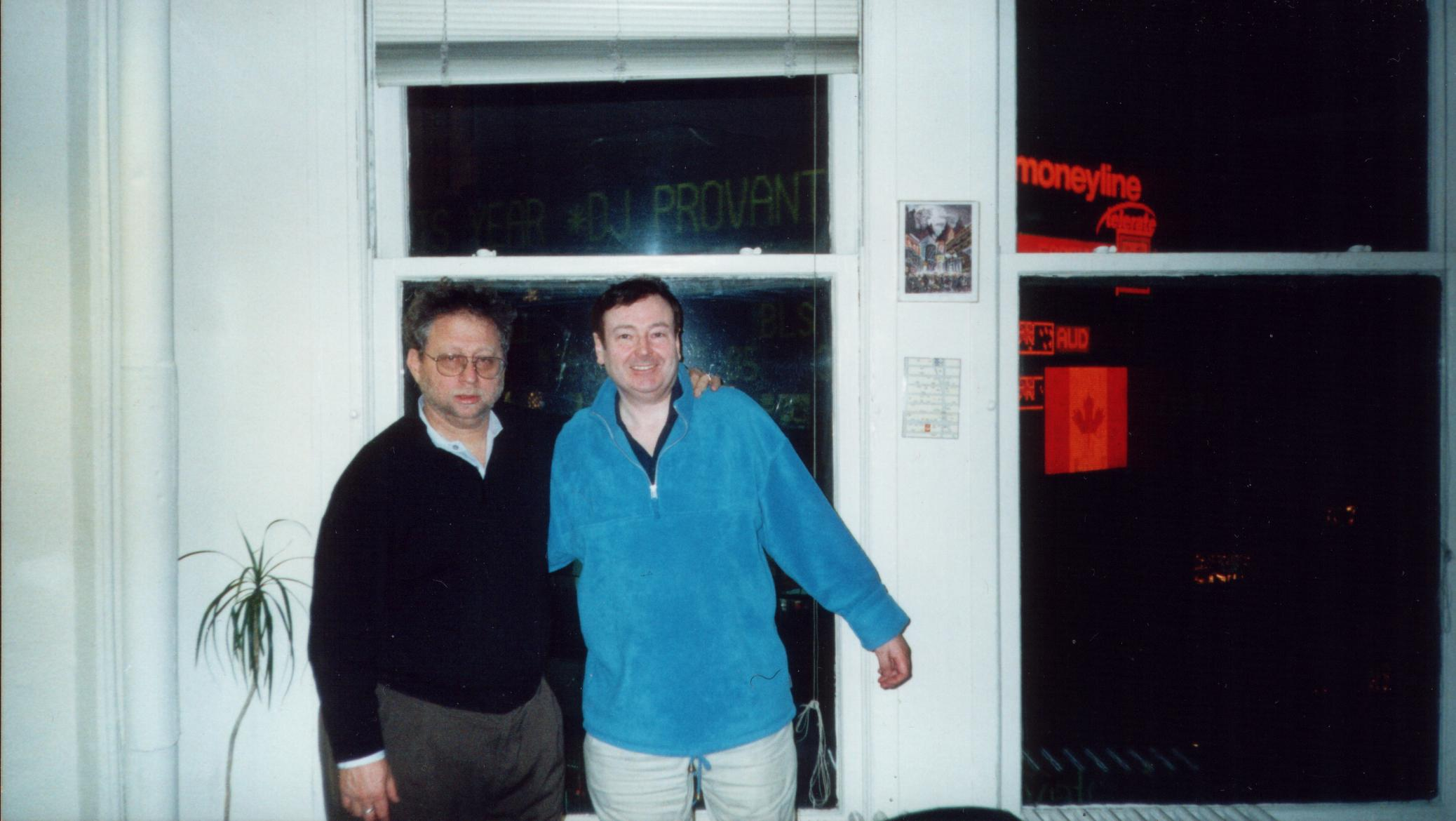 Danny with Paul at Globalvision's old Broadway office in 2002.