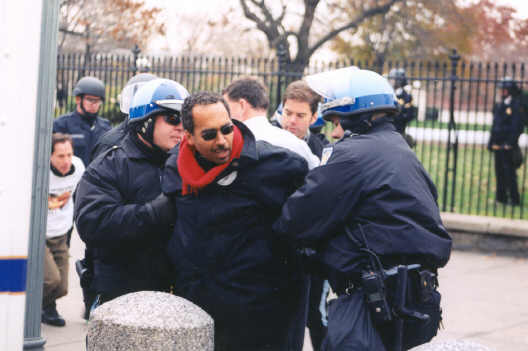 Salih Booker (Africa Action) arrested in front of White House WDC . 26nov02