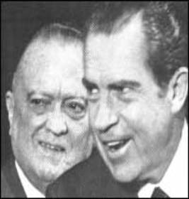 FBI Director J Edgar Hoover (left) with President Richard Nixon.