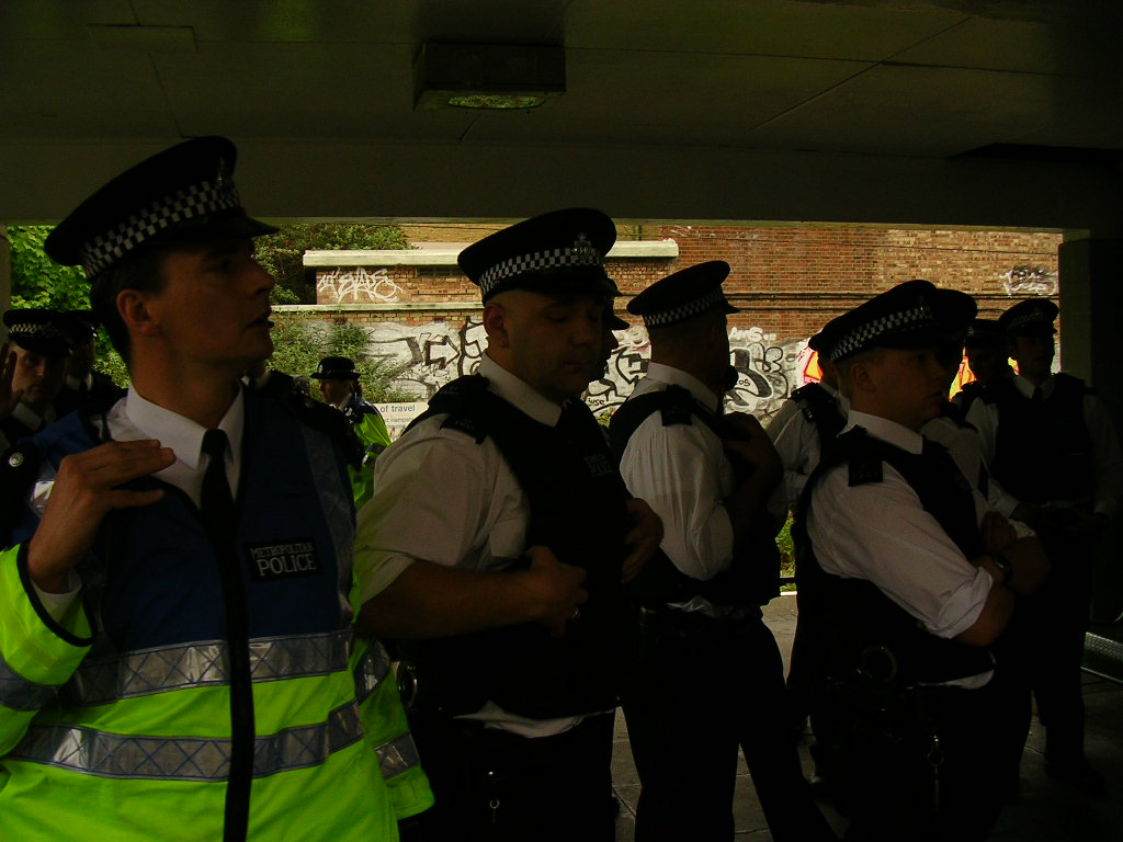 Police build up at Highbury and Islington station