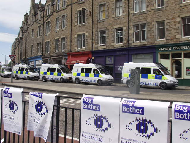 Big Brother wathcing you - 10 vans of riot police at Bristo Square