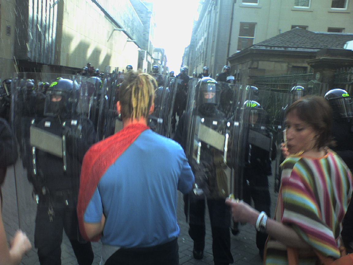 Riot cops charging people on rose street. 6:20pm
