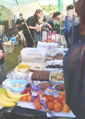 Food for donations at the stalls to cater for the blockaders
