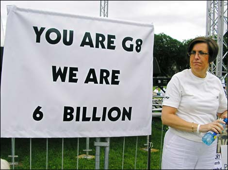 'You are G8, we are 6 billion' message