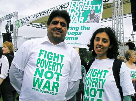 Perviz Khan and Salma Iqbal from Birmingham with Stop the War Coalition T-shirts
