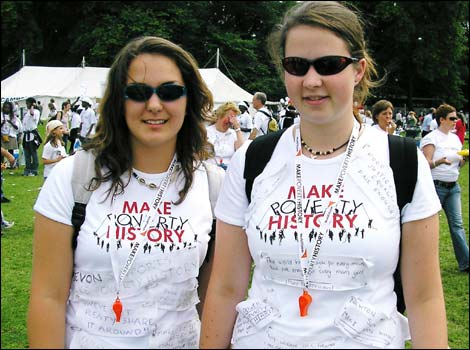 Birmingham girls wearing their Make Poverty History message T-shirts in Scotland