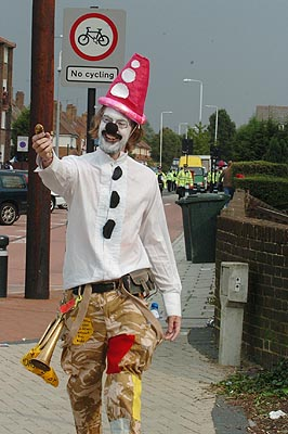 Clown evades cordon due to trusty Bannana. Probably.