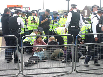 barriers around them and lots of police