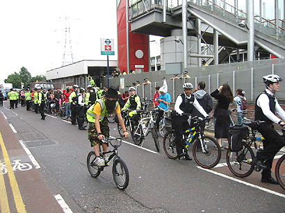 Critical Mass Cyclists at Custom House this morning
