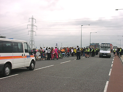 Flyover blocked by cyclists and protestors