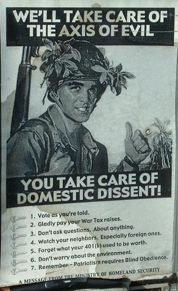 We'll take care of the axis of evil, you take care of domestic dissent