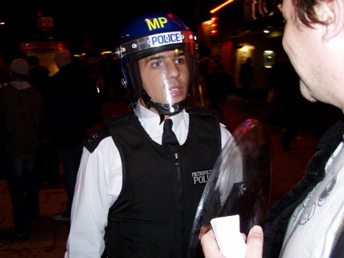 wired riot cop