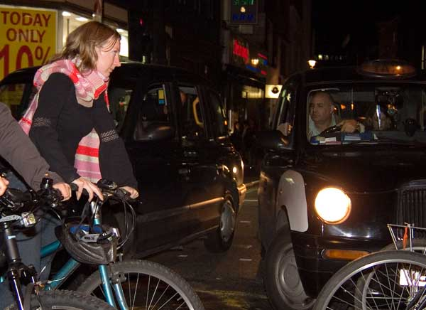 Cyclist block cabs into side streets
