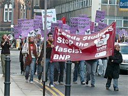 A section of the Leeds Student contingent marches to join the main protest.