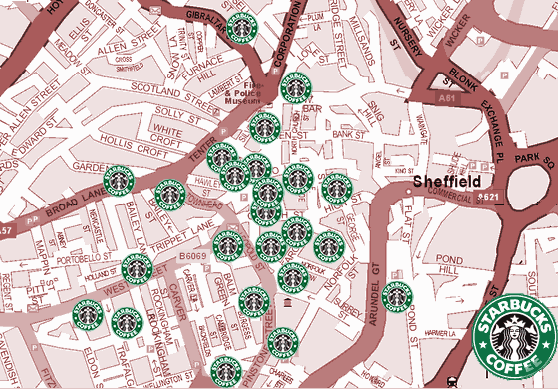 Map of Sheffield showing planned Starbucks development by 2010