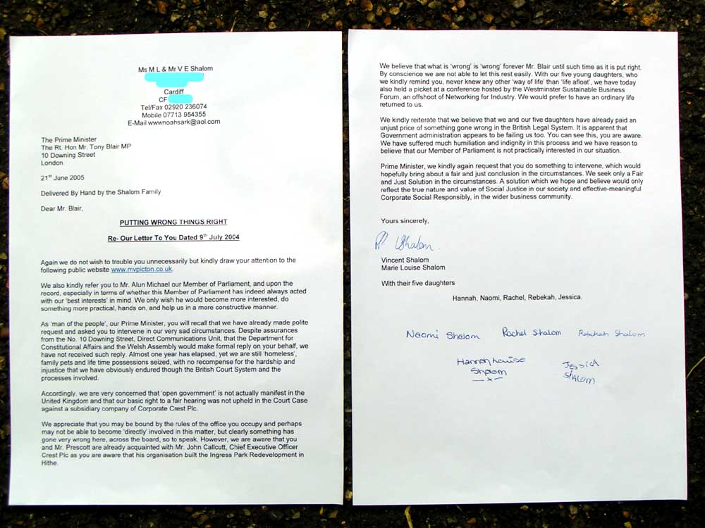 Open Government? Family Letter To Mr Tony Blair
