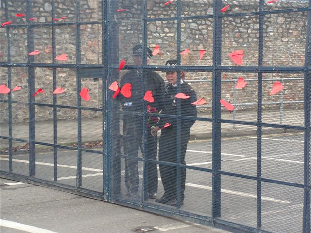 Hearts on gate