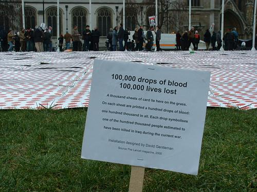 Ten thousand drops of blood in Parliament Square