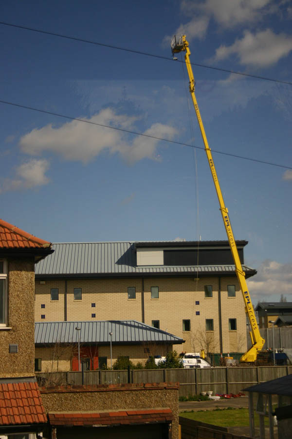 We're watching you - CCTV attached to crane watching demonstration