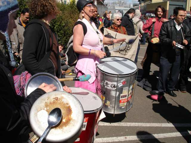 the Samba Band accompanied by pots and pans