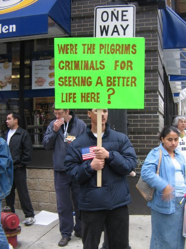 One of many placards commenting on hypocrasy