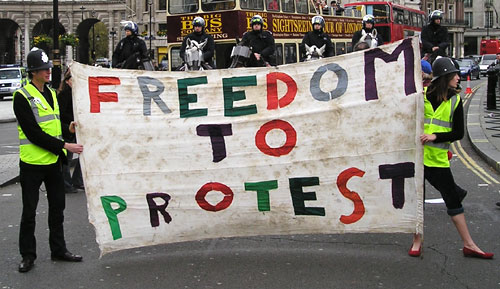 Freedom to Protest Banner.