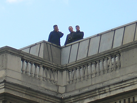 Anonymous onlookers from the National Gallery's roof. Who were they?