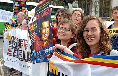 Chavez fans join Brian's protest.