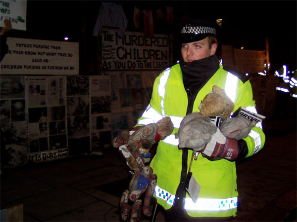 unauthorised teddy bear protest