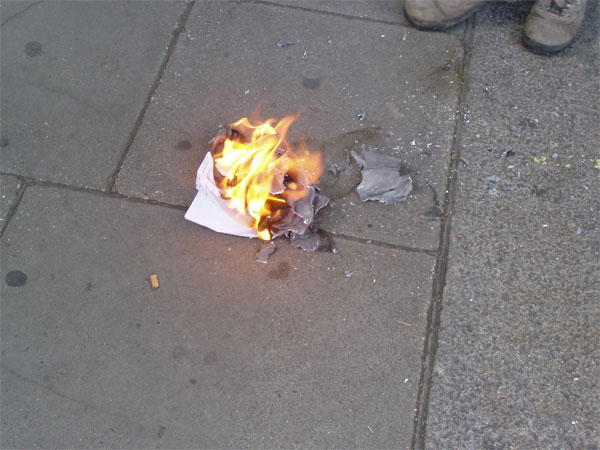 the burnt document