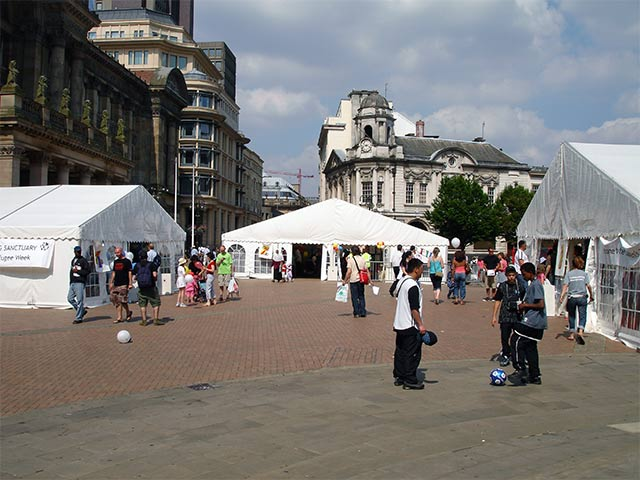 leafletting in Victoria Square