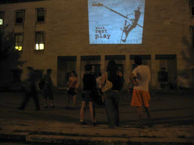 Screening on the wall of art and culture building