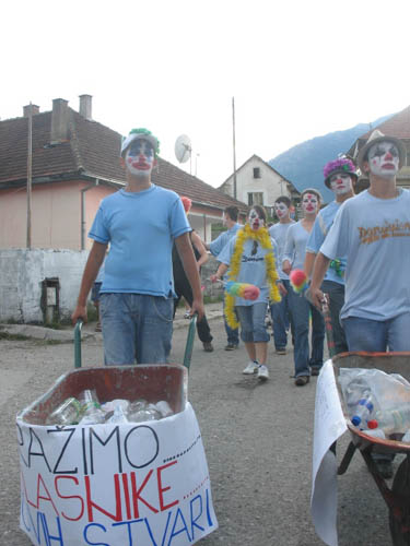 The clowns on a mission to solve the rubbish mistery..