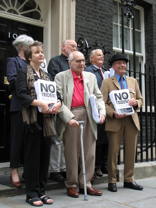 CND representatives hand in No Trident Replacement petition to No. 10