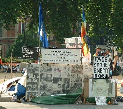 Brian Haw's much-reduced peace camp in Parliament Square