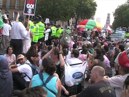Sit-down protest outside Downing Street