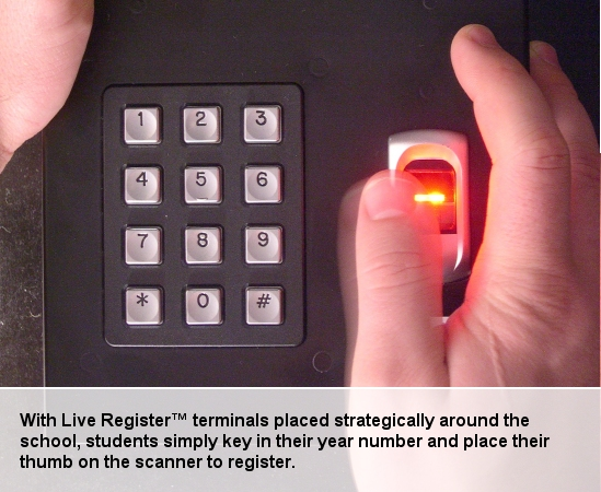Biometric system being used in Leics schools - http://www.liveregister.co.uk/