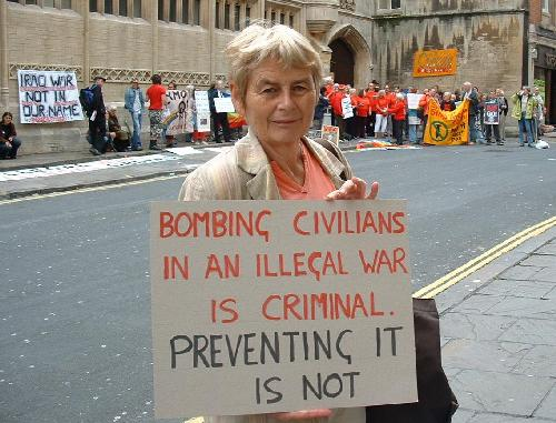 Bombing civilians in an illegal war is criminal, preventing it is not