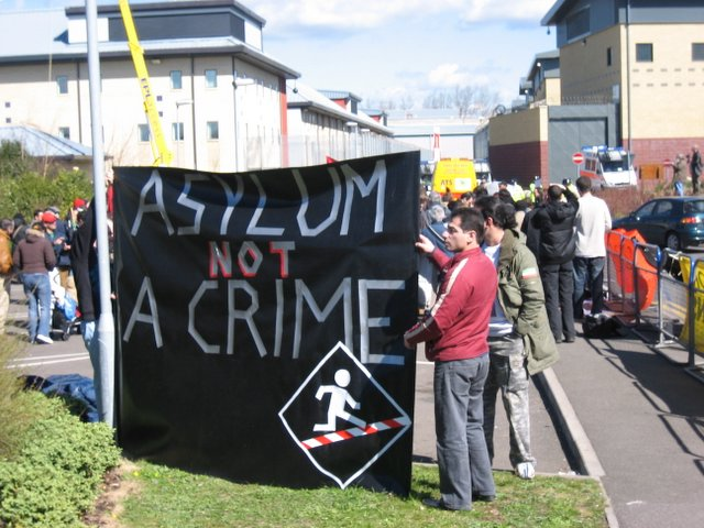 No Borders demo at Harmondsworth and Colnbrook detention centres, 8 April 2006
