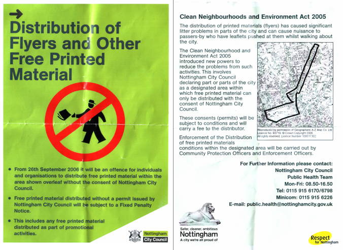 """Clean Neighbourhoods"" glossy flyer - oh the irony!"