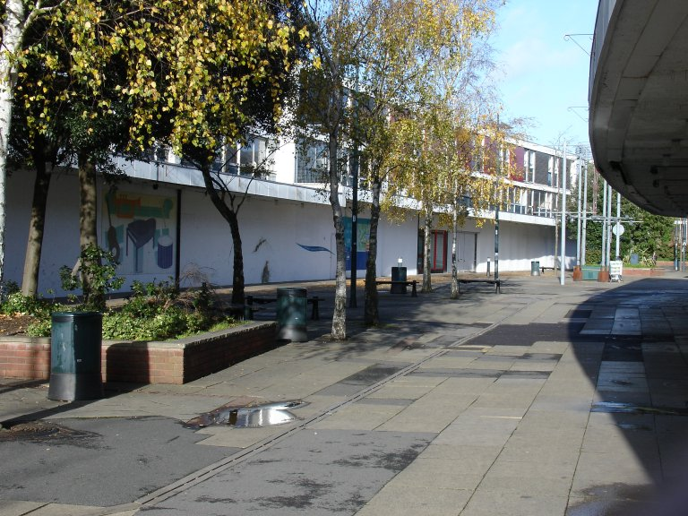Farnborough town centre – empty streets, boarded-up shops