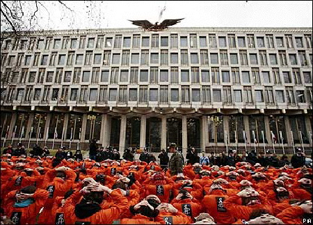 Close Guantanamo protest outside the US embassy in London