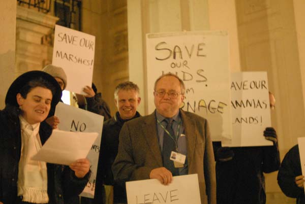 Outside town hall after winning over the planners, campaigner celebrate