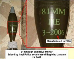 high explosive mortar seized by Iraqi Police