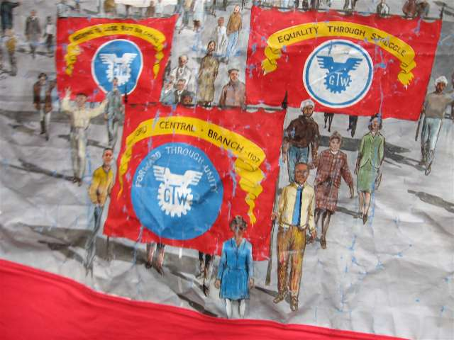 Close-up detail of the banners on the Ford TGWU Central Branch Dagenham's banner
