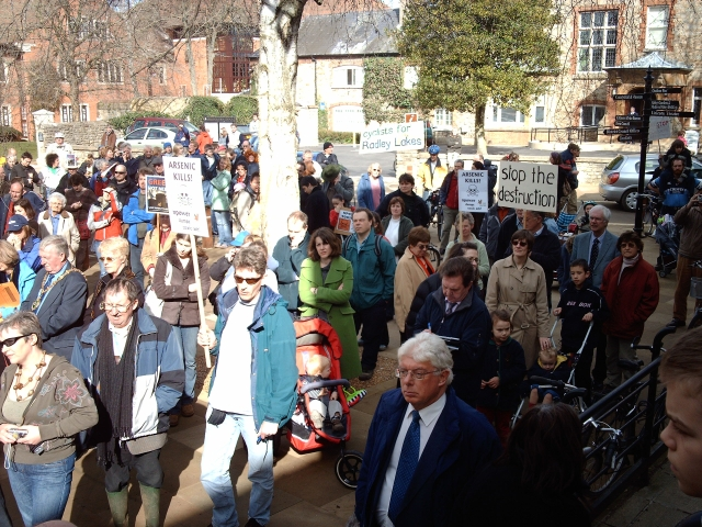 Local demonstrators at the Guildhall