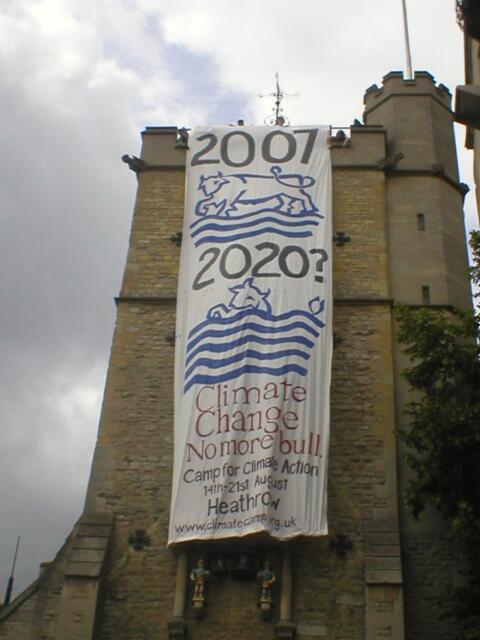 View from the ground of the banner