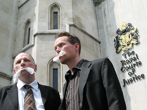 John Stewart and Leo Murray outside the High Court today